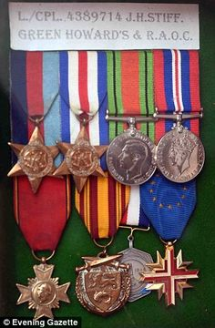 Mr Stiff will add it to his collection of wartime medals (pictured)...