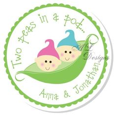 Personalized Shower Stickers  Two Peas in a Pod  by Autumnleah, $5.50