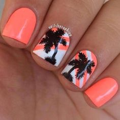 tropical nail art design for short nails | Fashion Winter Summer