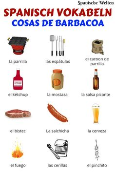 Spanisch Vokabeln: Grillen With these Spanish vocabulary surrounding barbecues you are prepared for every summer evening grilled. Teach Me Spanish, Spanish Notes, Spanish Teaching Resources, Spanish Language Learning, Spanish Teacher, Spanish Class, Spanish Lessons, Food Vocabulary, Spanish Vocabulary