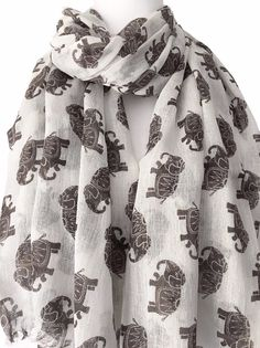 0b06db3b4550d A large ivory coloured Fair Trade scarf with a brown elephant print  Beautiful soft light weight