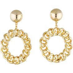 Moschino Pre-owned Moschino Chain Circle Hoop Earrings ($95) ❤ liked on Polyvore featuring jewelry, earrings, chain earrings, moschino, circle earrings, pre owned jewelry and hoop earrings