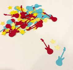 Rock and roll confetti, rock 'n roll, music confetti, star confetti, guitar red and blue confetti, pop star, birthday party, decoration