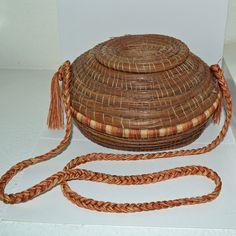 Vintage Rare Folk Art New Mexico Pine Needle Basket Purse,Handbag & Braided Silk