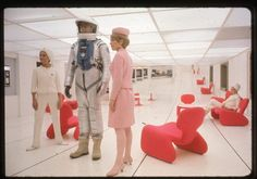 Filming 2001 a space odyssey, inside space station set