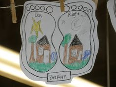 The Foot Book activity - draw opposites inside foot outline (The Art of Teaching)