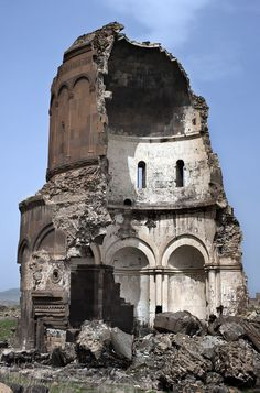 """Church of Redeemer, Ani. Ani is a ruined and uninhabited medieval Armenian city-site situated in the Turkish province of Kars, near the border with Armenia. It was once the capital of a medieval Armenian kingdom that covered much of present day Armenia and eastern Turkey.  Called the """"City of 1001 Churches,"""" Ani stood on various trade routes and its many religious buildings, palaces, and fortifications were amongst the most technically and artistically advanced structures in the world."""