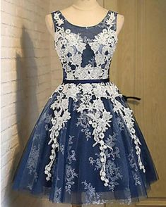 Cute Navy Short Homecoming Dress with Ivory Lace Teens Short Party Gowns SP0630 Cute Short Prom Dresses, Blue Homecoming Dresses, Sweet 16 Dresses, Mothers Dresses, Prom Party Dresses, Party Gowns, Bridal Dresses, Girls Dresses, Flower Girl Dresses