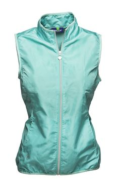 Ultra light, super thin but holds its own against the wind. Folds in to a small bundle so it fits perfectly into any bag. Mia Wind Vest Opal #golfvest #DailySportsUSA #spring2015