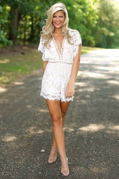 Showpo Face The Music Playsuit In White Lace 8 S Rompers And Playsuits