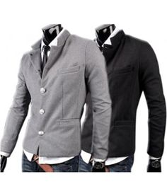 Button sweater jacket with right front pocket and side pockets. It has a mandarin collar look if buttoned up which can be folded over into a double collar.