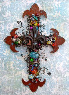 Decorative Wall Cross Fleur-de-lis Cross Rusty by TotallyCrosses