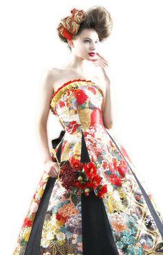和ドレス 着物ドレス Kimono Dress, Dress Up, Japanese Kimono, Japan Fashion, Wedding Beauty, Kimono Fashion, Wedding Styles, Strapless Dress, Gowns