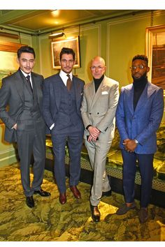 The LCM Ambassadors and Dylan Jones at the Ambassador's project at the Marks Club on Friday night. They're suited in bespoke Savile Row tailoring made just for LCM.
