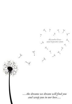 Funeral Order Of Service Outline | dandelion design baby memorial funeral order of service card