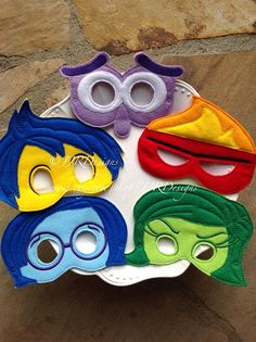 Feelings Mask- Joy Mask- Sadness Mask- Fear Mask- Anger Mask- Riley Mask-Emotions Mask-Emotion Masks-Inside Out Inspired Party Favors