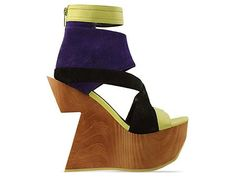 """Brava - $169.95 5 1/2"""" heel and 2"""" platform. Leather upper, man made sole. Fits true to size. Size US 8 (EU 38) insole measures at 9 5/8"""" inches or 24.5cm. Each half size is 1/4 inch or 1/2cm difference."""