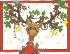 Self Adhesive Sticker Christmas Deer With Robins New