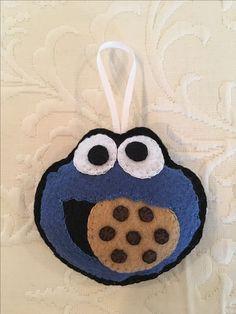 Felt crafts, felt ornament, Cookie Monster, Sesame Street ornament, made by Janis