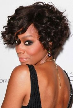 Short Curly Hairstyles for Round Faces for African American Women