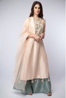Payal Singhal New Arrivals Collection : : Blush Embroidered Kurta With Powder Blue Palazzos And Dupatta Pakistani Dresses, Indian Dresses, Indian Outfits, Indian Designer Outfits, Designer Dresses, Designer Kurtis, Indian Attire, Indian Wear, Ethnic Fashion