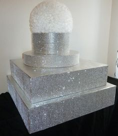 "16"" 18"" square silver bling faux rhinestone wedding cake stand cake pop cupcake stand display holder candy bar buffet serving set cake riser on Etsy, $69.00"