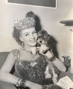 Betty Grable and-her-miniature-french-poodle-wow-between-scenes-of-beautiful-blonde-from-bashful-bend wearing Joseff of Hollywood jewelry I Love Dogs, Cute Dogs, Poodle Cuts, Tea Cup Poodle, Poodle Grooming, French Poodles, Standard Poodles, Puppy Cut, Vintage Dog