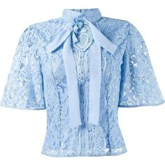Martha Medeiros Lace Blouse ($1,707) ❤ liked on Polyvore featuring tops, blouses, blue, blue lace blouse, bow blouse, blue lace top, blue top and lace top