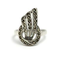 Vintage 1920s Art Deco Marcasite and Sterling Silver Geometric Statement Ring Size 7 by TheGemmary on Etsy