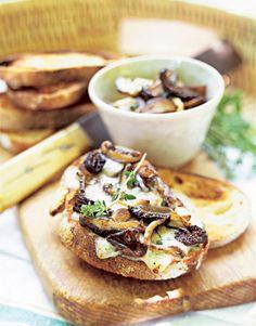 Wild Mushroom and Blue Cheese Crostini