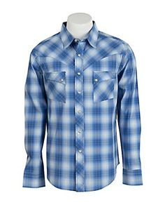 Wrangler Men's Vintage Blue & White Plaid Western Shirt