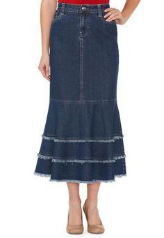 Cato Fashions Mermaid Fray Denim Skirt - Plus #CatoFashions