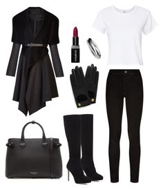 """""""outfit"""" by kwharmony on Polyvore featuring BCBGMAXAZRIA, Paige Denim, RE/DONE, Jimmy Choo, Mulberry, Burberry and Smashbox"""