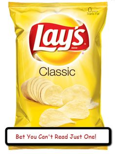"""""""BET YOU CAN'T READ JUST ONE!"""" Decorate the board with small bags of chips.  Put copies of YA book reviews (student written or ones from ALAN Review). Use index card size. Be sure to reinforce the bags to prevent tearing. Can also use this for books that are sequels or in a series. I'll post pics when I make this one."""