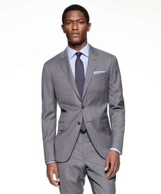 Sutton Suit Jacket in Italian Natural Stretch Light Grey Wool