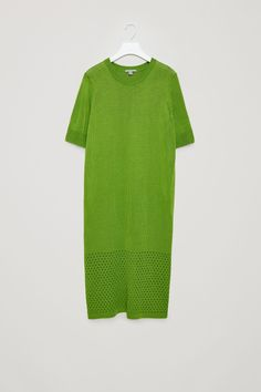 COS image 4 of Knitted pointelle dress in Green