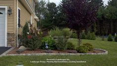 Front Yard Plant and Edge Installation Front Yard Plants, Front Yard Landscaping, Border Plants, Landscape Designs, Exterior Design, Mid-century Modern, Construction, Outdoors, Stone