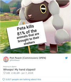 PETA Uses Pokemon Wooloo To Discourage People From Wearing Wool, People Roast Them In Response Funny Cute, Really Funny, The Funny, Hilarious, Peta, Animal Crossing, Strange Animals, Rare Animals, Animals And Pets