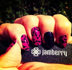 Jamberry Nails in Black Bats and Amethyst! Happy Halloween! www.hollycox.jamberrnail.net