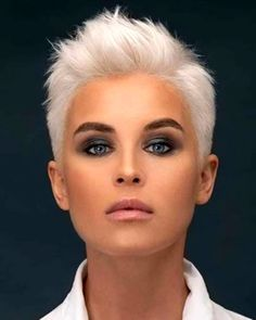 Pixie Haircut For Thick Hair, Short Pixie Haircuts, Short Hairstyles For Women, Blonde Pixie Haircut, Makeup For Short Hair, Edgy Pixie Hair, Blonde Pixie Hairstyles, Short Hair Cuts For Women Edgy, Very Short Pixie Cuts