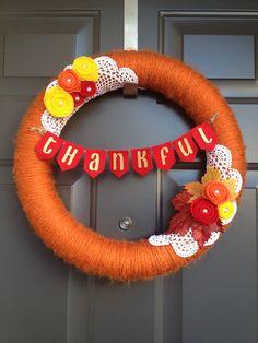 Custom Fall Yarn Wreath by FireflyCountryShop on Etsy