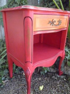 Vintage Nightstand End Table Side Table Painted Lipstick Red & Orange