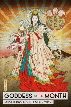 Amaterasu is the main Shinto Goddess. She is the Goddess of the Sun and Mother of all. Amaterasu Omikami, Japanese Goddess, Creation Myth, Art Asiatique, Japanese Folklore, Photo Portrait, Japanese Painting, Japanese Prints, Japan Art