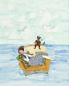 Find images and videos about girl, cat and sea on We Heart It - the app to get lost in what you love. Watercolor And Ink, Watercolor Paintings, Korean Artist, Whimsical Art, Cute Illustration, Cat Art, Cute Drawings, Anime Art, Art Photography