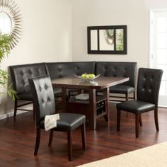 6 Leather Kitchen Dining Room Set Wood Corner Breakfast Nook Table Bench Wine