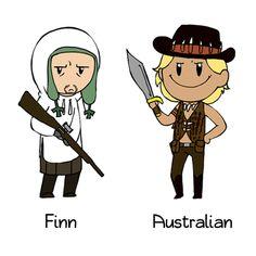 Finland as Simo Häyhä (Left) and Australia as Steve Irwin (Right) Satw Comic, Gorillaz Art, Banana Bus Squad, Bad Memes, Comic Artist, Funny Comics, Hetalia, Scandinavian, Jokes