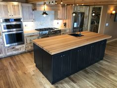 White kitchen cabinets with butcher block island uk ikea winsome Kitchen Island With Butcher Block Top, Butcher Block Countertops Kitchen, Outdoor Kitchen Countertops, Kitchen Tops, Ikea Kitchen, Kitchen Furniture, Kitchen Ideas, Furniture Stores, Hardwood Countertops