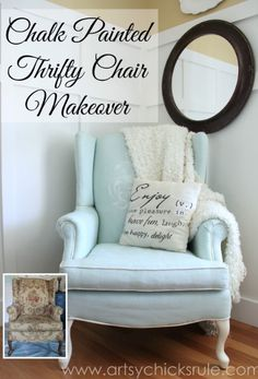 http://www.artsychicksrule.com/2014/05/painted-upholstered-chair-makeover-chalk-paint.html