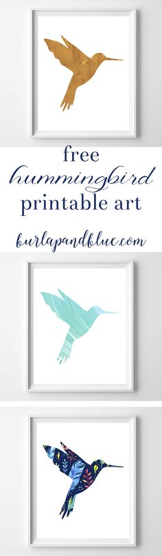 Love hummingbirds? This free printable hummingbird art comes in three designs-turquoise watercolor, gold foil and floral. Perfect for bird and nature lovers!
