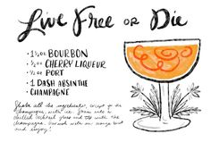 Live Free or Die Cocktail Recipe Card #illustration: http://ohsobeautifulpaper.com/2015/01/live-free-or-die-bourbon-champagne-cocktail-recipe/ by Shauna Lynn Illustration for Oh So Beautiful Paper #OSBPHappyHour
